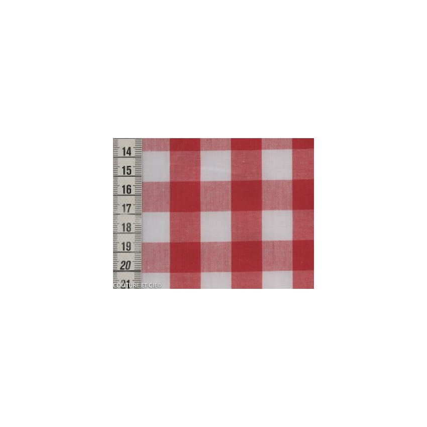 tissu vichy rouge 16 mm en vente chez couture cie. Black Bedroom Furniture Sets. Home Design Ideas