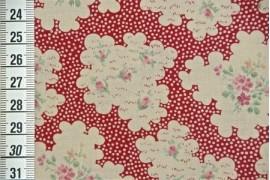 Tissu Nuage de fleurs rouge