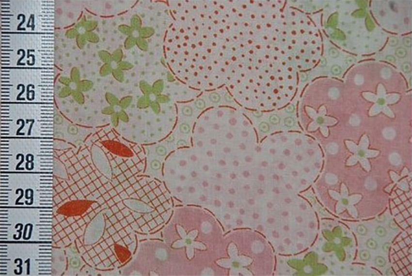 Tissu Kokka Fleurs rose et vert