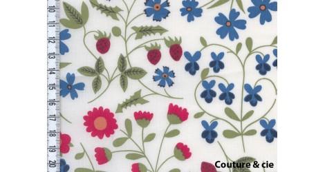 Tissu Liberty Mirabelle rouge et bleu dans Batistes Tana Lawn par Couture et Cie