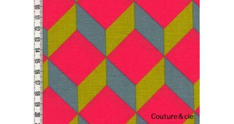Cubik corail, moutarde, gris bleu dans Nattés de coton par Couture et Cie