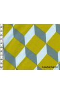 Tissu Cubik moutarde, ciel, gris bleu
