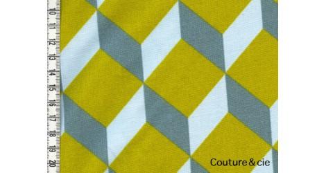 Tissu Cubik moutarde, ciel, gris bleu dans LINNAMORATA par Couture et Cie