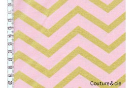 Tissu Sleek Chevron Pearlized, Blush