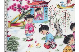 Tissu Filles chinoises, coupon 40*110cm