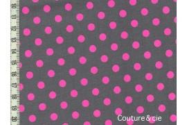 "Tissu ""Neo Dot"" gris à pois rose fluo"