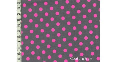 """Tissu \\""""Neo Dot\\"""" gris à pois rose fluo dans MICHAEL MILLER par Couture et Cie"""