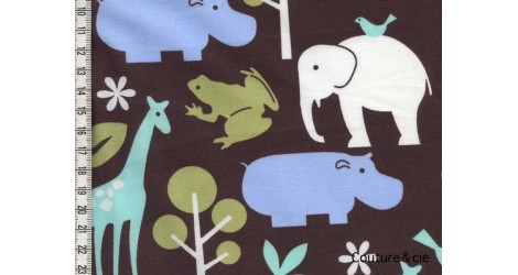 Tissu Zoology marron dans MICHAEL MILLER par Couture et Cie