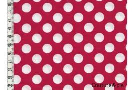 Tissu Ta Dot rouge pois blancs