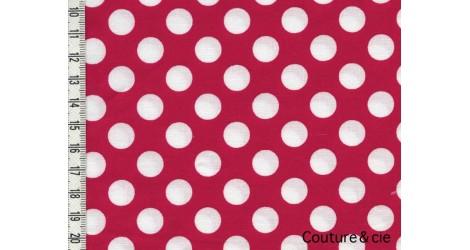 Tissu Ta Dot rouge pois blancs dans MICHAEL MILLER par Couture et Cie