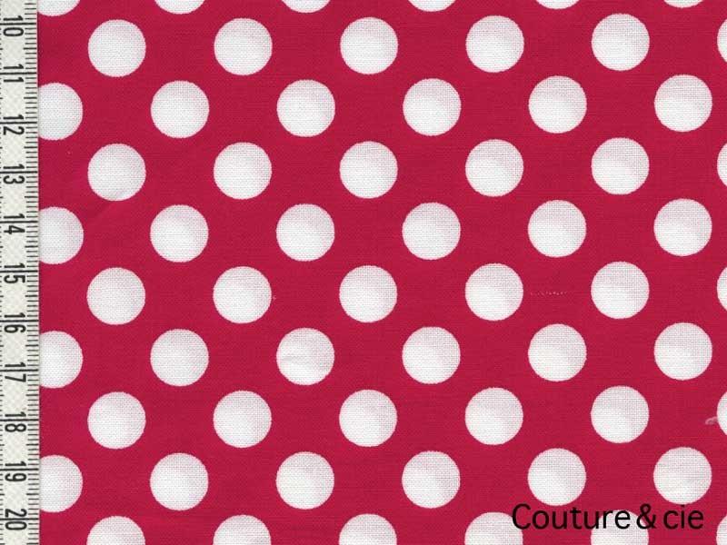 Tissu rouge pois blancs Minnie