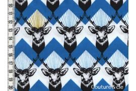 Tissu Echino Huedrawer Cerf bleu