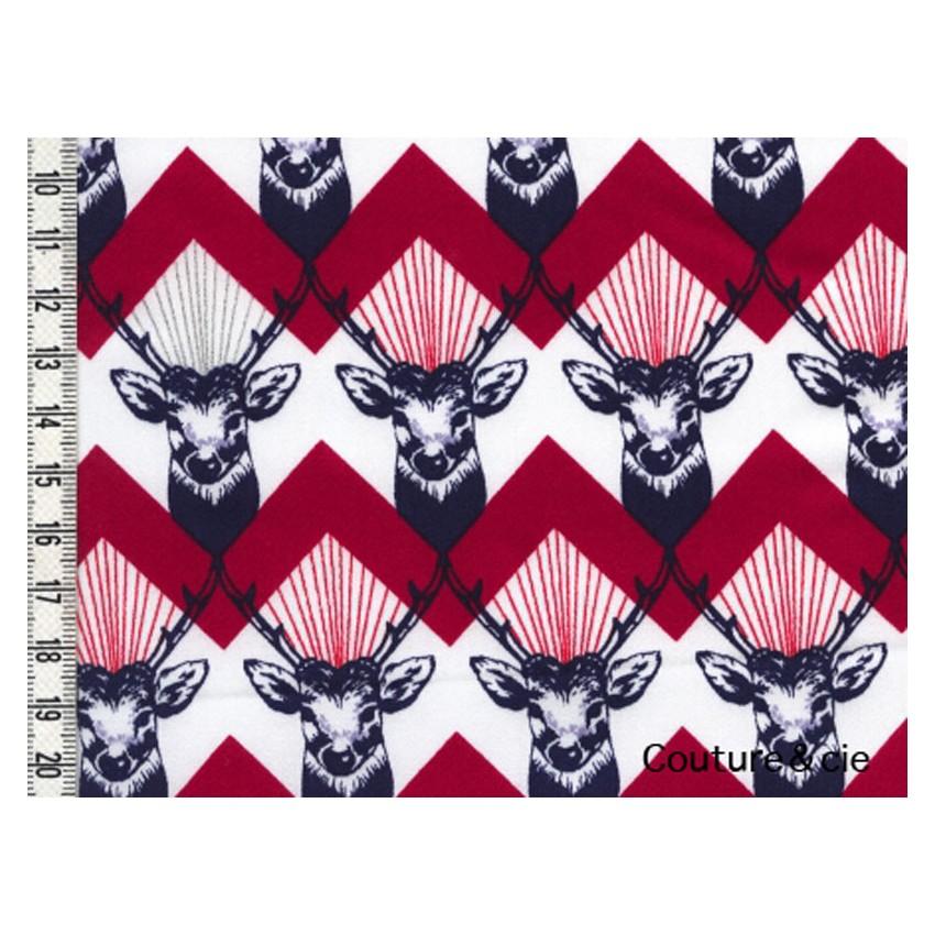 tissu echino huedrawer cerf rouge en vente chez couture cie. Black Bedroom Furniture Sets. Home Design Ideas