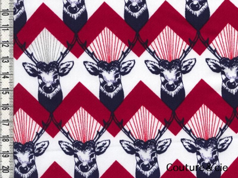 Tissu Kokka Echino Cerf rouge