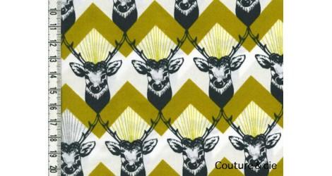 Tissu Echino Huedrawer Cerf jaune moutarde dans TISSUS JAPONAIS par Couture et Cie