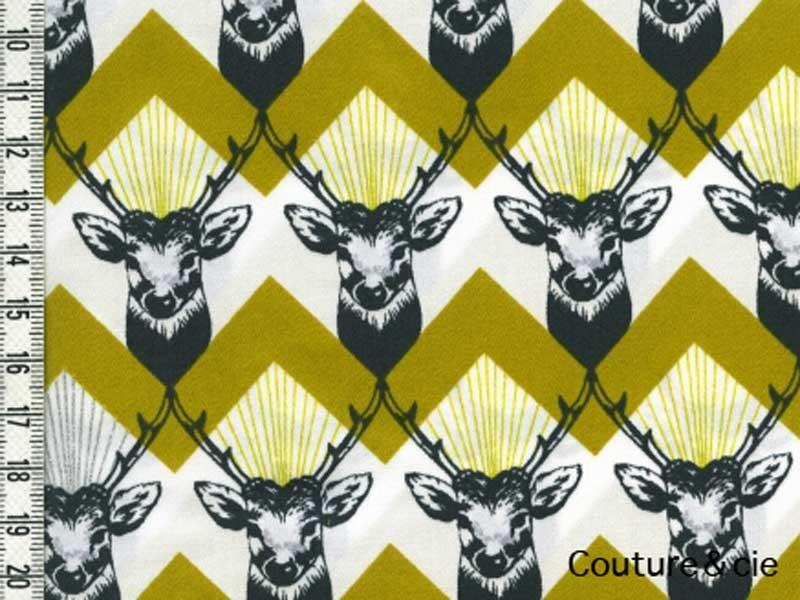 Tissu Echino Huedrawer Cerf jaune moutarde