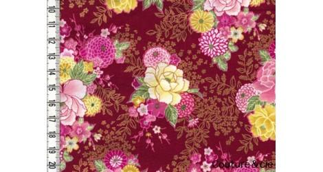 Tissu Delicate Kikus rouge dans Motifs traditionnels par Couture et Cie