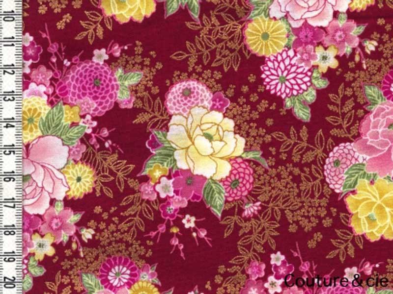 Tissu Sevenberry Delicate Kikus rouge