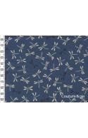 Tissu Libellules bleu canard, coupon 35*110cm