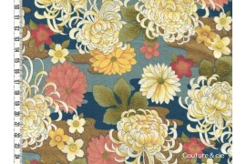 Tissu Chrysanthèmes bleu