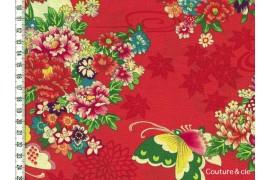 Tissu Fleurs et Papillons corail