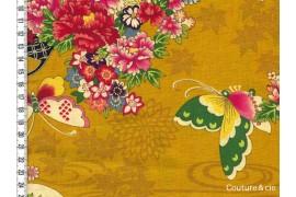 Tissu Fleurs et Papillons moutarde