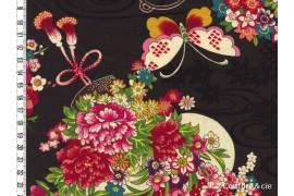Tissu Fleurs et Papillons noir