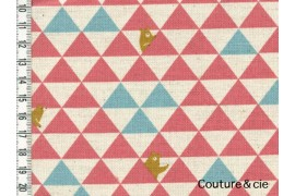 Tissu Triangles et Ours rose