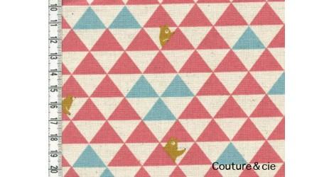 Tissu Triangles et Ours rose dans Kokka par Couture et Cie