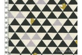 Tissu Kokka Triangles et ours noir