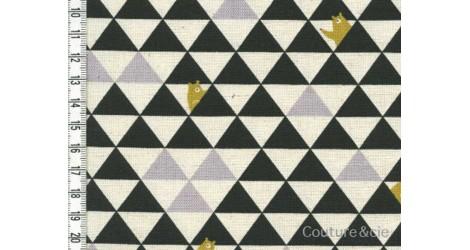 Tissu Kokka Triangles et ours noir dans Kokka par Couture et Cie