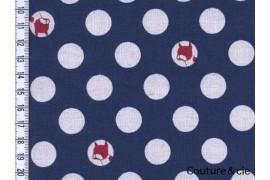 Tissu Pois et bouledogues bleu marine
