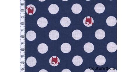 Tissu Pois et bouledogues bleu marine dans Kokka par Couture et Cie