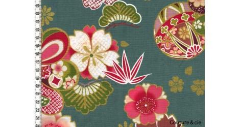 Tissu Fleurs de cerisiers vert, coupon 43*110cm dans Kokka par Couture et Cie
