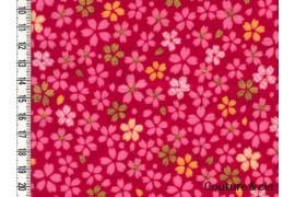 Tissu Petites Fleurs de cerisier rouge et or