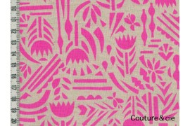 Tissu Ellen Baker Botanica rose fluo