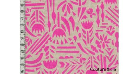Tissu Ellen Baker Botanica rose fluo dans Kokka par Couture et Cie