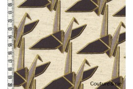 Tissu Kokka Paper Cranes in natural and gold
