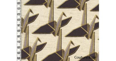 Tissu Kokka Paper Cranes in natural and gold dans Kokka par Couture et Cie