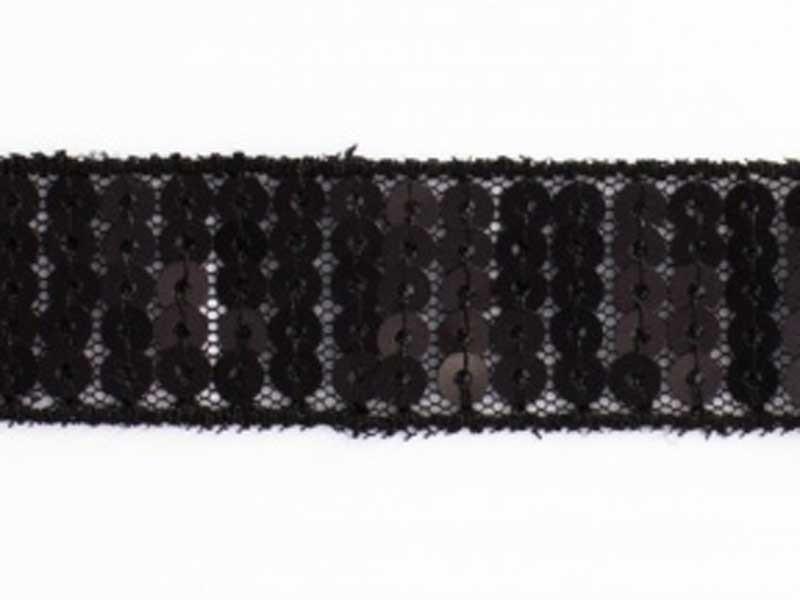Ruban Paillettes rondes noir