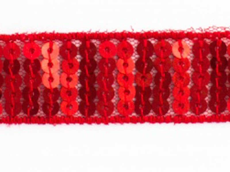 Ruban Paillettes rondes rouge