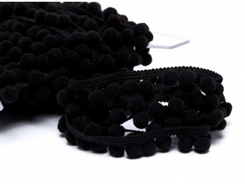 Galon pompons noir 18mm