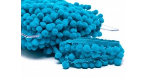 Galon pompon bleu turquoise 18mm dans Galons pompons par Couture et Cie