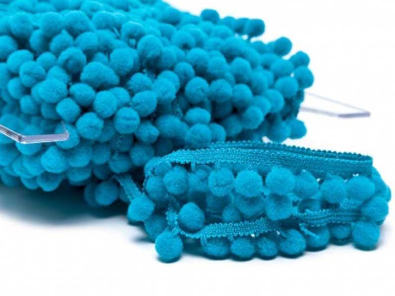 Galon pompon bleu turquoise 18 mm