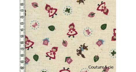 Tissu Chaperon rouge fond écru dans Kokka par Couture et Cie