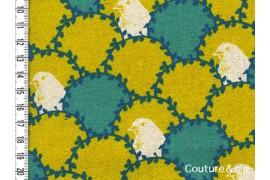 Tissu Oiseau vert et moutarde