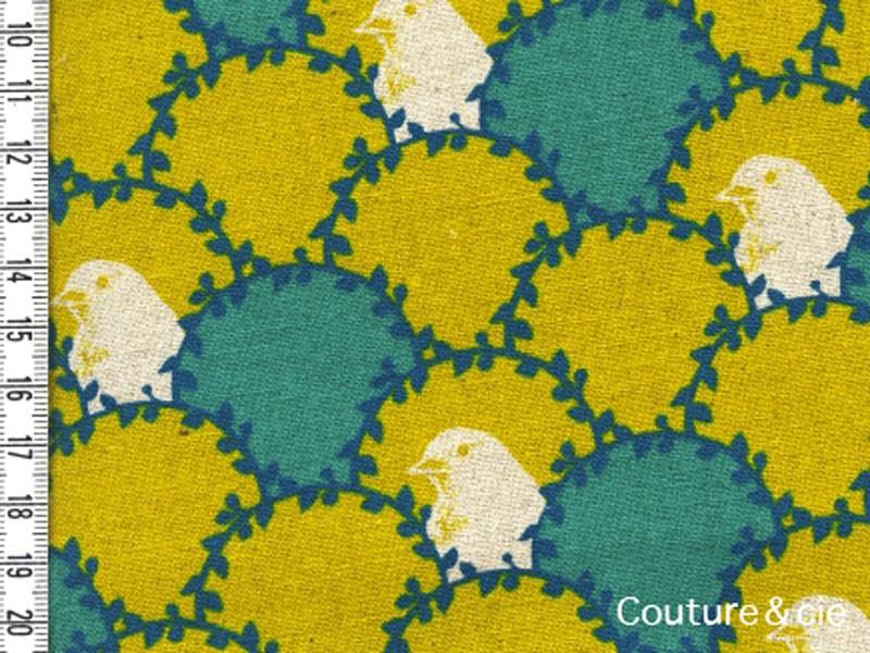Tissu Echino Oiseau vert et moutarde