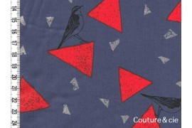 Tissu Echino Fragments bleu gris