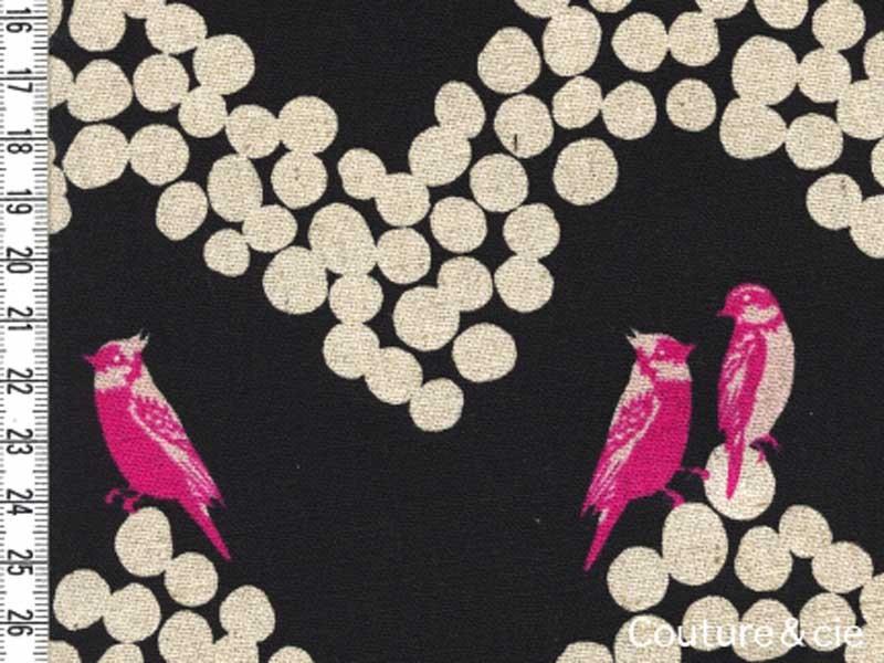 Tissu Echino Parakeet noir