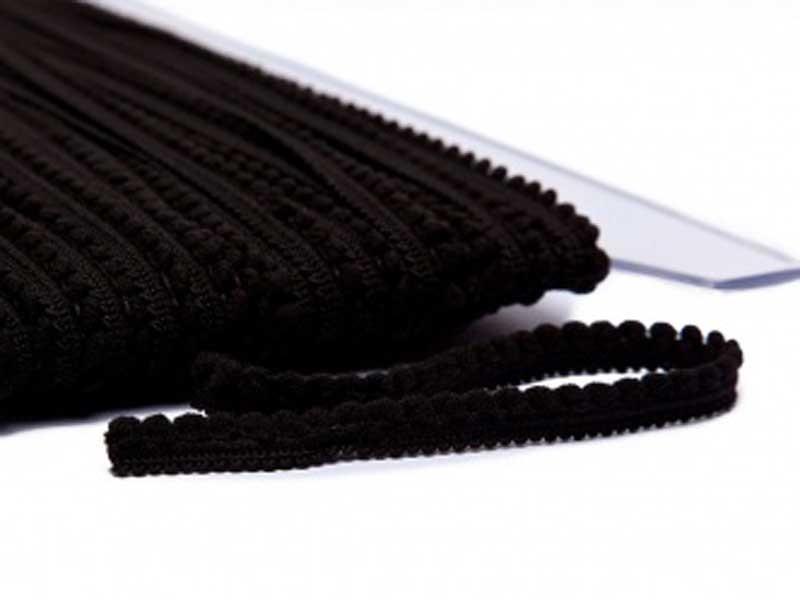 Galon petits pompons noir